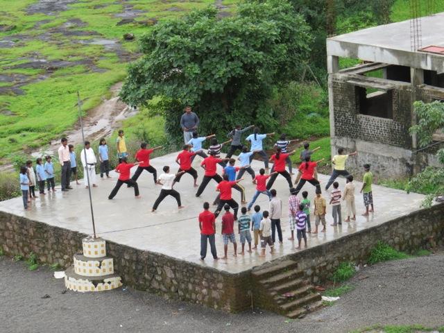 The older children training in martial arts