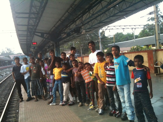 Children waiting for the train to Kanyakumari